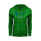 ENZA Ladies Kelly Green Fleece Full Zip Hoodie-Mom