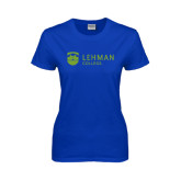 College Ladies Royal T Shirt-Flat University Mark
