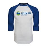 White/Royal Raglan Baseball T Shirt-Flat University Mark