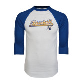 White/Royal Raglan Baseball T Shirt-Baseball Script