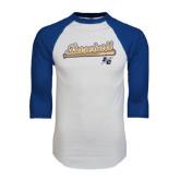 White/Royal Raglan Baseball T Shirt-Baseball Script