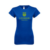 Lahman Next Level Ladies SoftStyle Junior Fitted Royal Tee-University Mark
