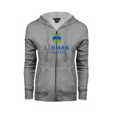 Ladies Grey Fleece Full Zip Hoodie-University Mark