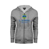 College ENZA Ladies Grey Fleece Full Zip Hoodie-University Mark