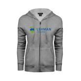 College ENZA Ladies Grey Fleece Full Zip Hoodie-Flat University Mark