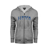 Ladies Grey Fleece Full Zip Hoodie-Arched Lehman College
