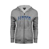 College ENZA Ladies Grey Fleece Full Zip Hoodie-Arched Lehman College
