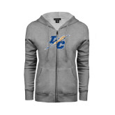 Ladies Grey Fleece Full Zip Hoodie-LC Lightning