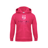 Youth Raspberry Fleece Hood-University Mark Foil