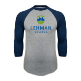 College Grey/Navy Raglan Baseball T Shirt-University Mark