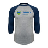 College Grey/Navy Raglan Baseball T Shirt-Flat University Mark
