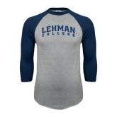 College Grey/Navy Raglan Baseball T Shirt-Arched Lehman College
