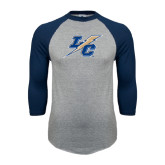 College Grey/Navy Raglan Baseball T Shirt-LC Lightning