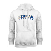 College White Fleece Hoodie-Arched Lehman College