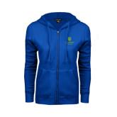 College ENZA Ladies Royal Fleece Full Zip Hoodie-University Mark