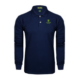 College Navy Long Sleeve Polo-University Mark