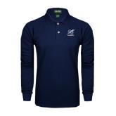 College Navy Long Sleeve Polo-Baseball