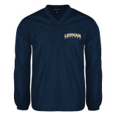 College V Neck Navy Raglan Windshirt-Arched Lehman College