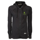 Ladies Under Armour Black Varsity Full Zip Hoodie-University Mark