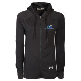 Ladies Under Armour Black Varsity Full Zip Hoodie-LC Lightning Stacked