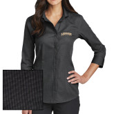 College Ladies Red House Black 3/4 Sleeve Shirt-Arched Lehman College