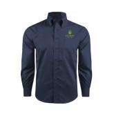 Lahman Red House Deep Blue Herringbone Long Sleeve Shirt-University Mark