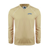 Colorblock V Neck Vegas Gold/White Raglan Windshirt-Arched Lehman College