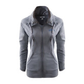 Ladies Sport Wick Stretch Full Zip Charcoal Jacket-Arched Lehman College