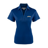 College Ladies Navy Performance Fine Jacquard Polo-Arched Lehman College