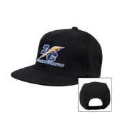 College Black Flat Bill Snapback Hat-LC Lightning Stacked