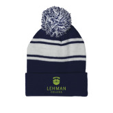 Navy/White Two Tone Knit Pom Beanie with Cuff-University Mark