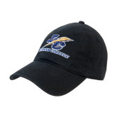 College Black Twill Unstructured Low Profile Hat-LC Lightning Stacked