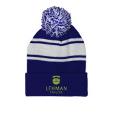 Royal/White Two Tone Knit Pom Beanie with Cuff-University Mark