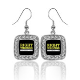 Crystal Studded Square Pendant Silver Dangle Earrings-Right Wrongs