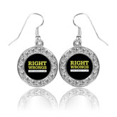 Crystal Studded Round Pendant Silver Dangle Earrings-Right Wrongs