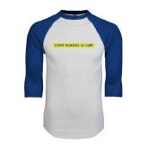 White/Royal Raglan Baseball T Shirt-CUNY School of Law