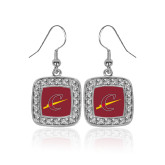 Crystal Studded Square Pendant Silver Dangle Earrings-Athletic C