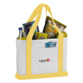 Contender White/Gold Canvas Tote-University Logo 1876 Horizontal