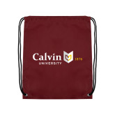 Maroon Drawstring Backpack-University Logo 1876 Horizontal