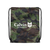 Camo Drawstring Backpack-University Logo 1876 Horizontal