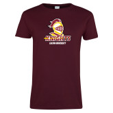 Ladies Maroon T Shirt-Knights with University