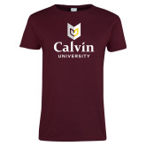 Ladies Maroon T Shirt-University Logo Vertical