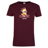 Ladies Maroon T Shirt-Athletics Stacked