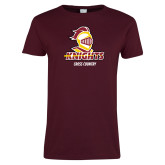 Ladies Maroon T Shirt-Cross Country Stacked