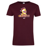 Ladies Maroon T Shirt-Golf Stacked