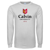 White Long Sleeve T Shirt-University Logo 1876 Vertical