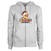 ENZA Ladies White Fleece Full Zip Hoodie-Knights with University