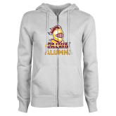 ENZA Ladies White Fleece Full Zip Hoodie-Alumni Knight Calvin