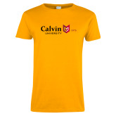 Ladies Gold T Shirt-University Logo 1876 Horizontal