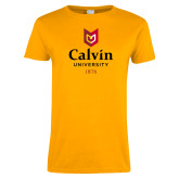 Ladies Gold T Shirt-University Logo 1876 Vertical